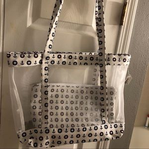 Large mesh Anchor tote bag with pouch